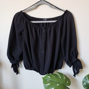 Ambiance | Black Crop Top 3/4 Tie Sleeve | Small